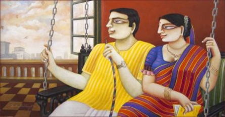 Figurative Acrylic Art Painting title 'Untitled' by artist Gautam Mukherjee