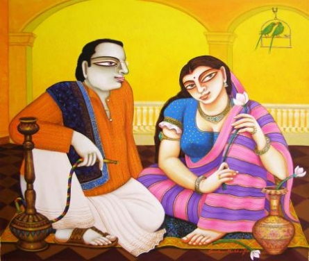 Figurative Acrylic Art Painting title 'Untitled' by artist Gautam Mukherjee