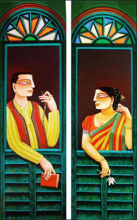 SOLD | Painting by artist Gautam Mukherjii | acrylic | Canvas