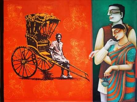 Figurative Acrylic Art Painting title 'Rickshaw' by artist Gautam Mukherjee