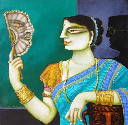 Figurative Acrylic Art Painting title 'Charulata I' by artist Gautam Mukherjee