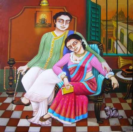 Nostalgia | Painting by artist Gautam Mukherjii | acrylic | Canvas