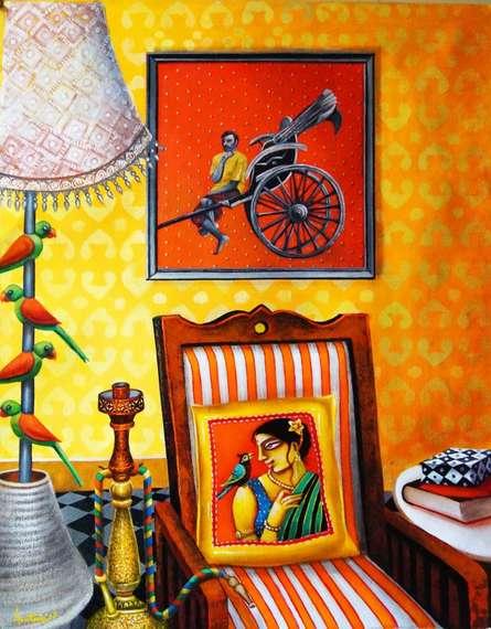 Figurative Acrylic Art Painting title 'Home' by artist Gautam Mukherjee