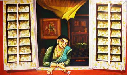 Figurative Acrylic Art Painting title 'Window' by artist Gautam Mukherjee