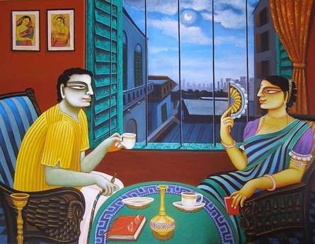 Babu and Bibi   Painting by artist Gautam Mukherjii   acrylic   Canvas