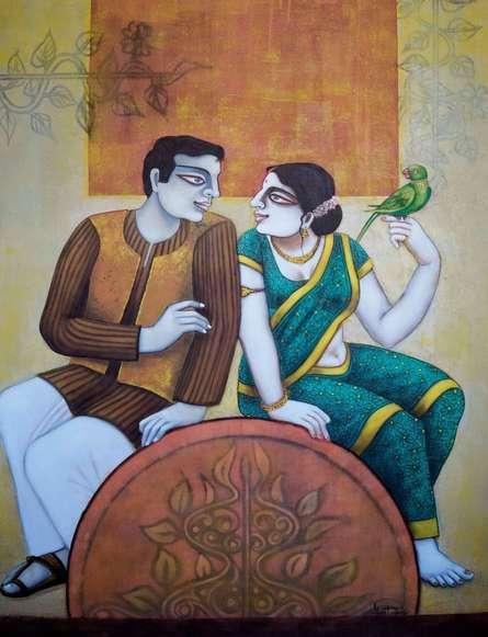 Figurative Acrylic Art Painting title 'Babu And Bibi 3' by artist Gautam Mukherjee