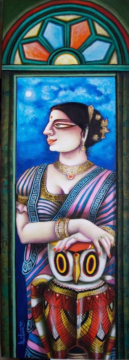 Figurative Acrylic Art Painting title 'Charulata 2' by artist Gautam Mukherjee