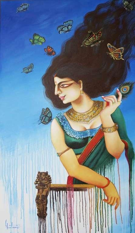 Figurative Acrylic Art Painting title Charulata 3 by artist Gautam Mukherjee