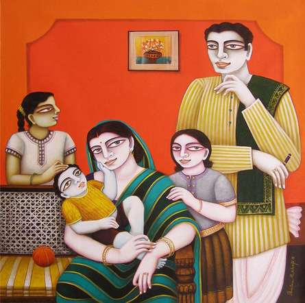 Figurative Oil Art Painting title 'My Family' by artist Gautam Mukherjee
