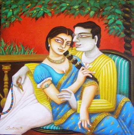 Figurative Acrylic Art Painting title Babu and Bibi II by artist Gautam Mukherjee