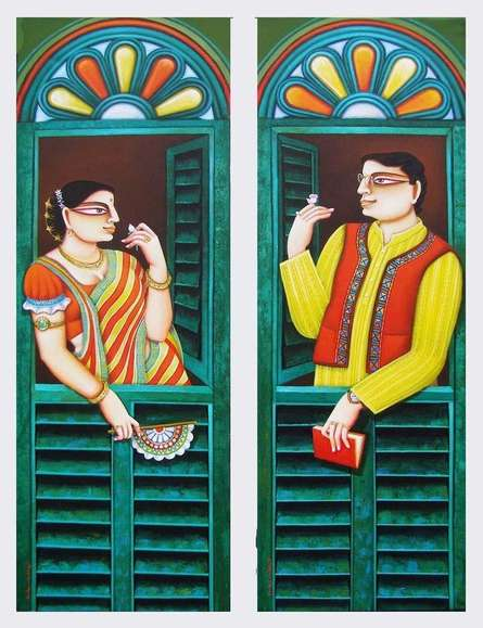 Figurative Acrylic Art Painting title 'Conversation' by artist Gautam Mukherjee