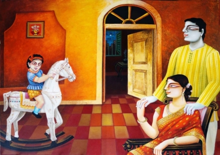 Figurative Acrylic Art Painting title 'My Family 3' by artist Gautam Mukherjee