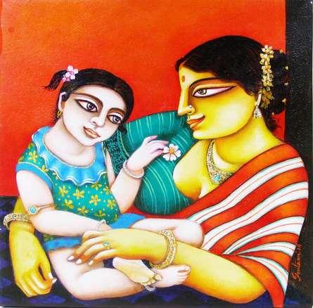 Mother and Child   Painting by artist Gautam Mukherjii   acrylic   Canvas