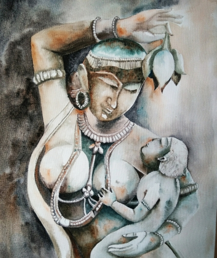 Religious Watercolor Art Painting title 'Playful Mother' by artist Rakhi Chanda