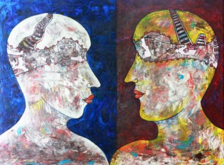 Figurative Acrylic Art Painting title 'Face To Face' by artist DADA