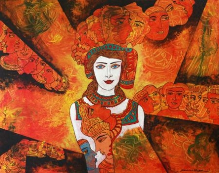 Figurative Acrylic Art Painting title 'Silver Lady' by artist DADA