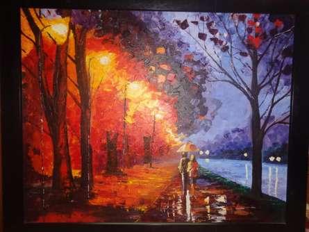 Rainy night | Painting by artist Shikha Poddar | acrylic | Canvas Board