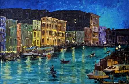 Shikha Poddar | Acrylic Painting title Venice 1 on Canvas | Artist Shikha Poddar Gallery | ArtZolo.com