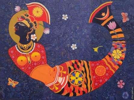 Bhaskar Lahiri | Acrylic Painting title Dream girl 1 on Canvas | Artist Bhaskar Lahiri Gallery | ArtZolo.com