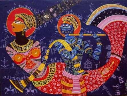 Figurative Acrylic Art Painting title 'Dream girl 5' by artist Bhaskar Lahiri