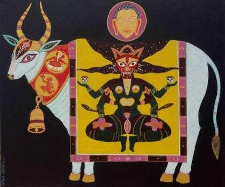 Animals Acrylic Art Painting title 'Tantric Deity' by artist Bhaskar Lahiri