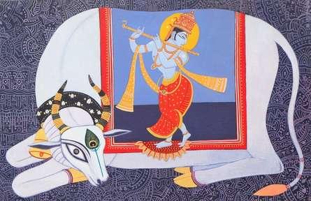 Religious Acrylic Art Painting title Dhenu by artist Bhaskar Lahiri