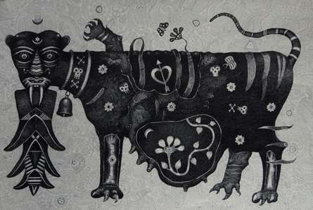 Tigress | Drawing by artist Bhaskar Lahiri |  | pen | Paper Board