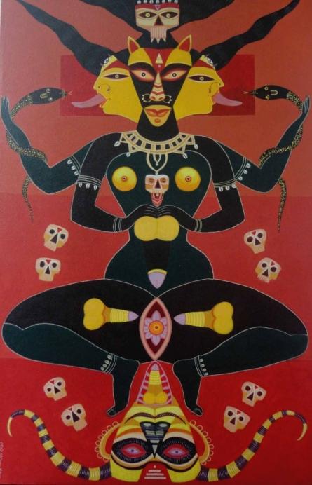 Tantrik Deity | Painting by artist Bhaskar Lahiri | acrylic | Canvas