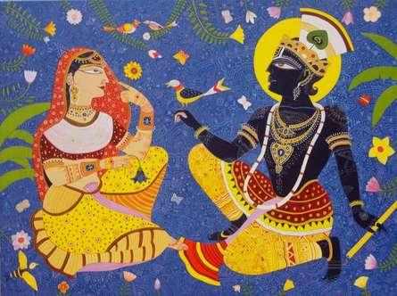 Religious Acrylic Art Painting title 'Krishna Radha' by artist Bhaskar Lahiri