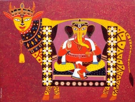Religious Acrylic Art Painting title 'Kamadhenu' by artist Bhaskar Lahiri