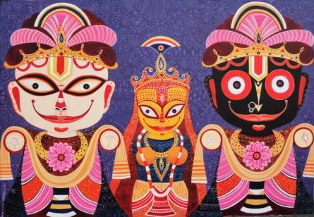 Religious Acrylic Art Painting title 'Triratna' by artist Bhaskar Lahiri