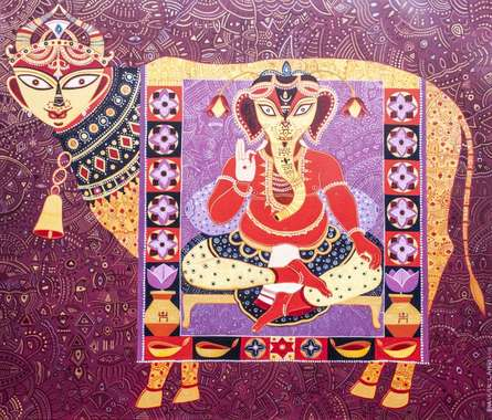 Bhaskar Lahiri | Acrylic Painting title Kaamdhenu With Shree Ganesha on Canvas | Artist Bhaskar Lahiri Gallery | ArtZolo.com