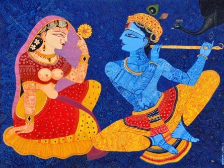 Religious Acrylic Art Painting title 'Kunjaban' by artist Bhaskar Lahiri