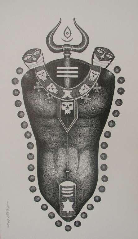 Lord Shiva   Drawing by artist Bhaskar Lahiri      pen   Paper Board