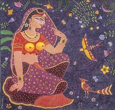 Religious Acrylic Art Painting title Radha by artist Bhaskar Lahiri