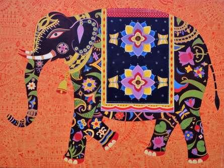 Animals Acrylic Art Painting title 'Royal Elephant 1' by artist Bhaskar Lahiri
