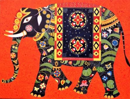 Animals Acrylic Art Painting title Royal Elephant 3 by artist Bhaskar Lahiri