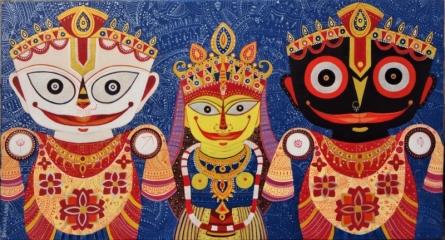 Figurative Acrylic Art Painting title 'Triratna 3' by artist Bhaskar Lahiri