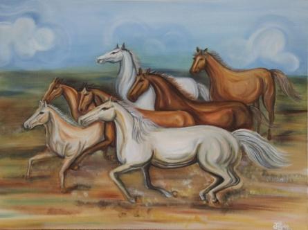 7 Horses | Painting by artist Jigisha Dwivedi | acrylic | Canvas Board