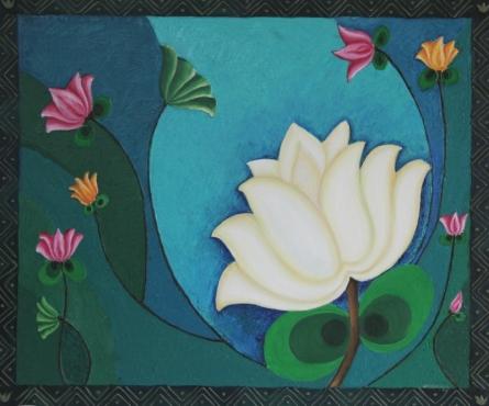 Peace- white lotus | Painting by artist Jigisha Dwivedi | mixed-media | Canvas Board