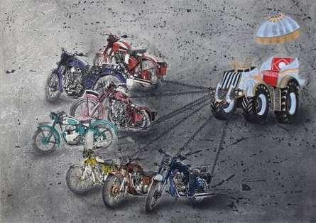 Figurative Watercolor Art Painting title 'Modern Ratha' by artist Akshay Tijare