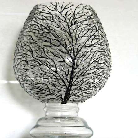 Wish Tree in black and glitter silver | Glass art by artist Shweta Vyas