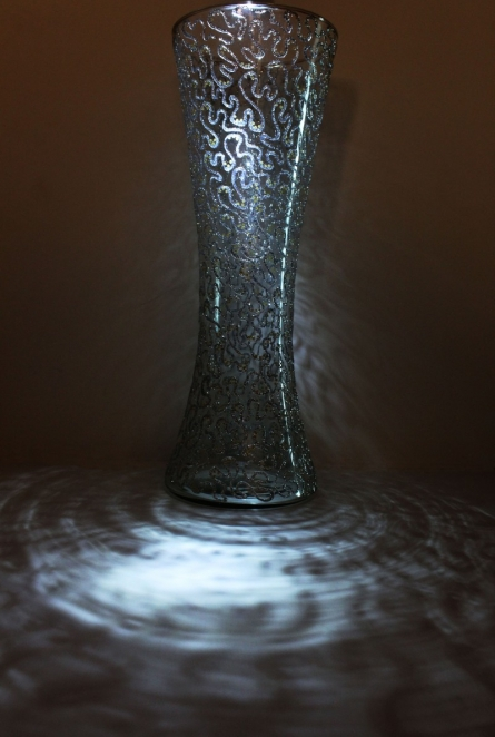 Abstract glitter silver glass vase | Glass art by artist Shweta Vyas