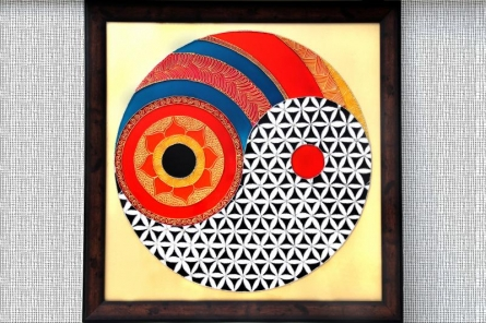 Flower of life yin yang | Glass art by artist Shweta Vyas