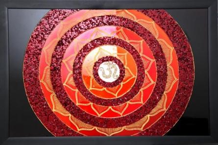 Aum mandala | Glass art by artist Shweta Vyas