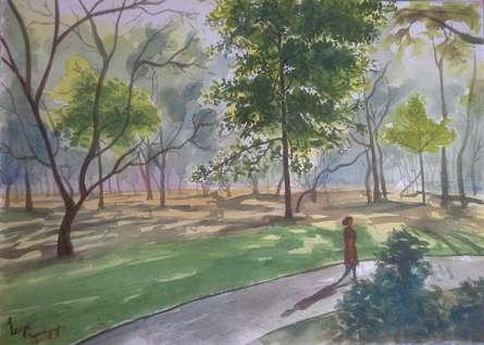 Strolling through Cubbon park | Painting by artist Lasya Upadhyaya | watercolor | Paper