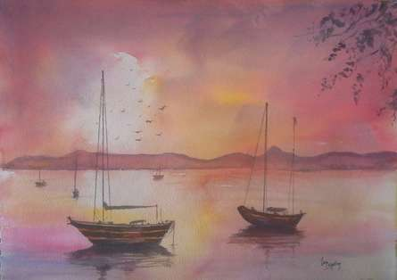 Seascape Watercolor Art Painting title Floating on the sunset sea by artist Lasya Upadhyaya