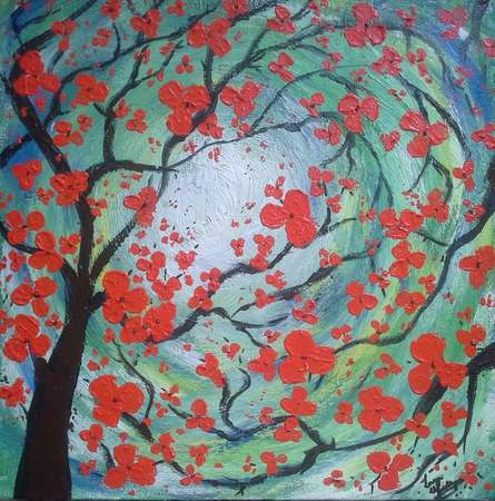 Scarlet blooms | Painting by artist Lasya Upadhyaya | acrylic | Canvas Board