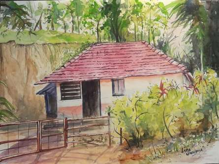 Landscape Watercolor Art Painting title A peaceful morning at Wayanad by artist Lasya Upadhyaya