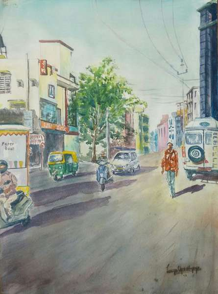 Cityscape Watercolor Art Painting title Bangalore Cityscape 1 by artist Lasya Upadhyaya